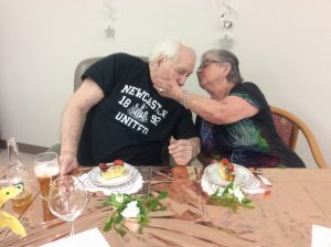 Couple celebrating 64 years of marriage